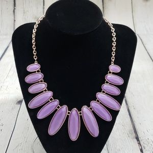 PURPLE & GOLD TONED STATEMENT NECKLACE